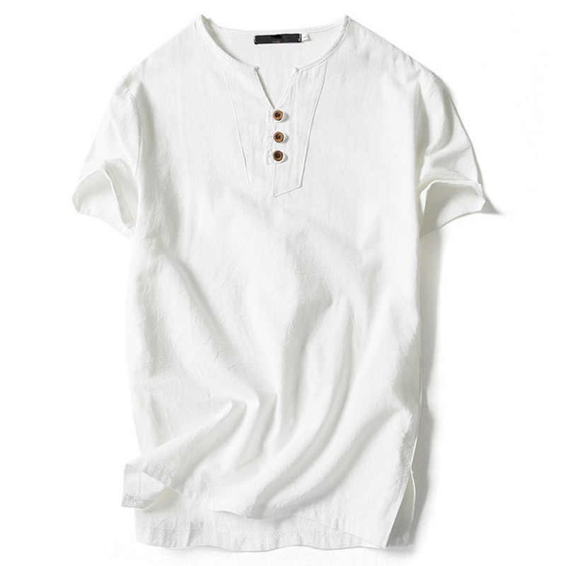 TANGNEST 2018 verano Lino manga corta Camiseta Casual Delgado cuello en V hombres Camiseta cómoda talla grande 5XL 6 colores camiseta MTS2498