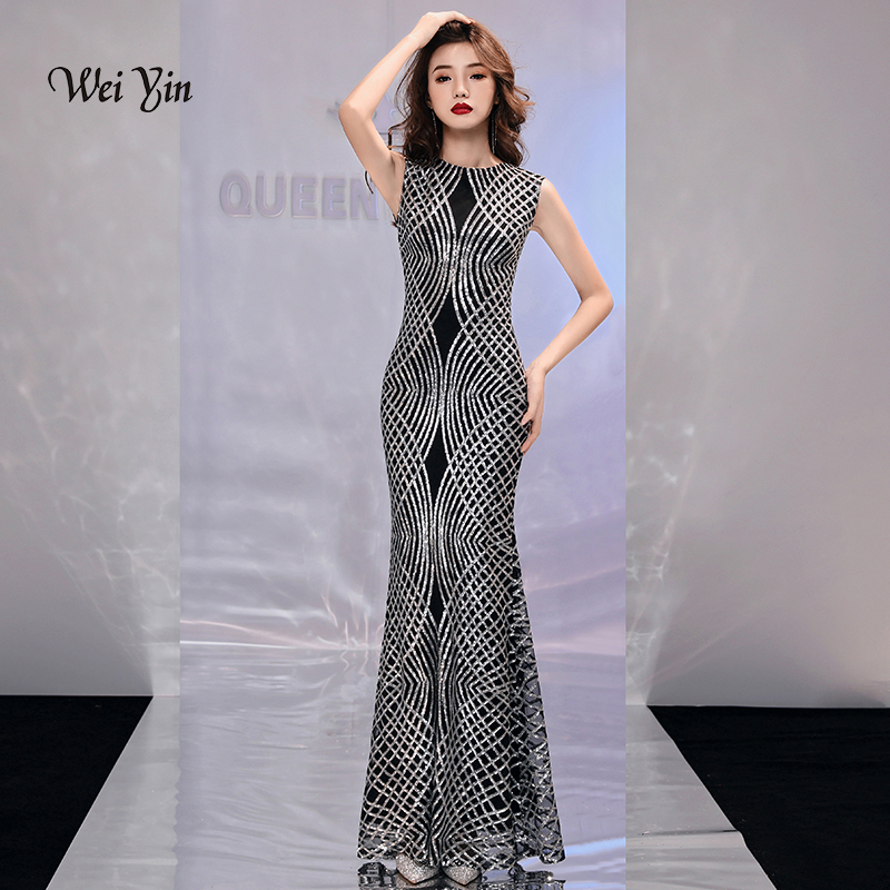 weiyin Silver Sequined Mermaid   Evening     Dresses   See Through O Neck 2019 New Arrival Floor Length Long Party   Dress   for Women WY972