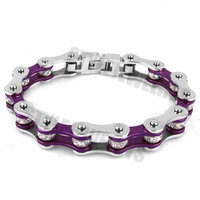 Free Shipping! Bling Motorcycle Crystal Bracelet Stainless Steel Jewelry Purple Bicycle Chain Motor Biker Women Bracelet SJB0152