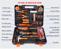 HB 35 Pcs Pcs Household Hand Tool Set Electrical Tools Plastic Toolbox Storage Case Hand Tool Set General