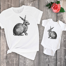 2019 rabbit top bunny tshirt mommy and daughter matching clothes big sister me family clothing baby girl print outfits