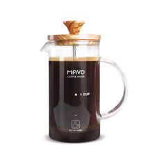Olive wood coffee pot glass French pot Home coffee machine French filter pot Heat resistant Tea maker(China)
