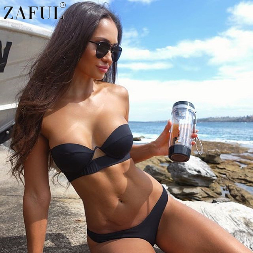 ZAFUL Bikini Sexy Women Strapless Bandeau Push Up Black Bikini Set Brazilian Female Swimsuit Swimwear NewBathing Suit Biquinis