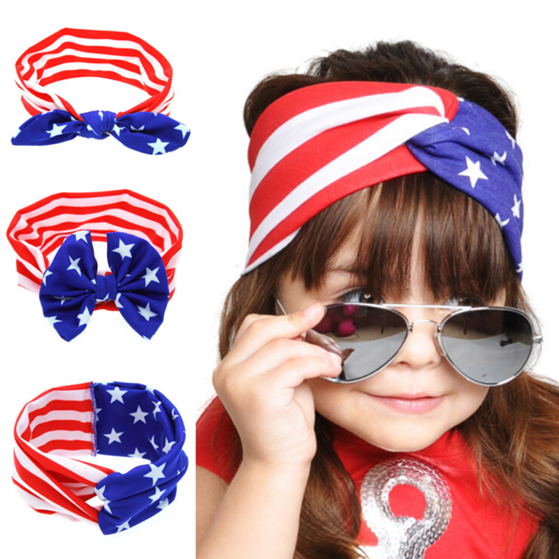 2017 New American Flag Rabbit Ear Hair Band Headband, Kids Knot Head With Hair Ornaments Reliable Performance