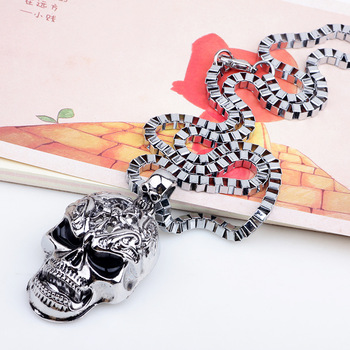 2019 Super Fashion Punk Rock And Roll Wind Personalized Skull Pendant Necklaces Wholesale Make Man Suffocating Big Skull Jewelry 1