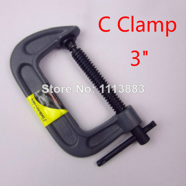 3(75MM) Woodworking Clip Clamps Fixed Clamp Ductile Iron C-Clamps Heavy Duty G-Clamps