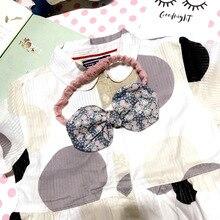 2017 прекрасный Печати Полосатый Цветочные Повязка С Тканью Лук Эластичный Диапазон Волос Для Девочки Kid Головные Уборы