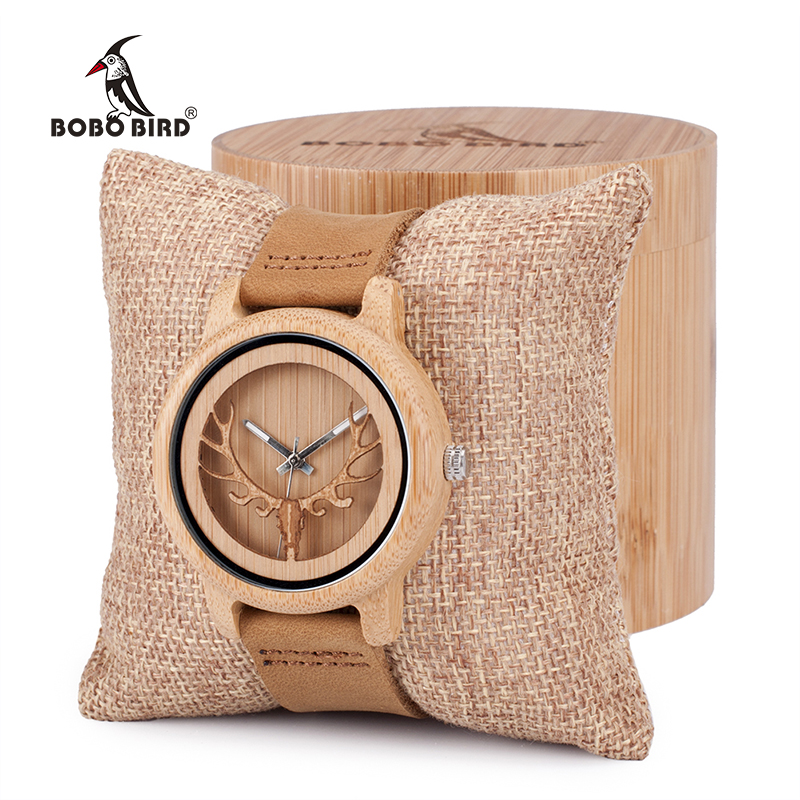 цены BOBO BIRD Vintage Deer Head Skeleton Design Bamboo Wood Wrist Watch Mens Womens Timepiece with Leather Bands in Watch Box