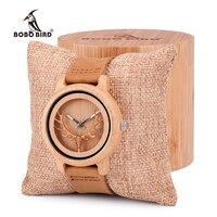 BOBO KUŞ Vintage Deer Head İskelet Tasarım Bambu Ahşap Deri Bantları Bilek İzle Timepiece Womens İzle Kutusu