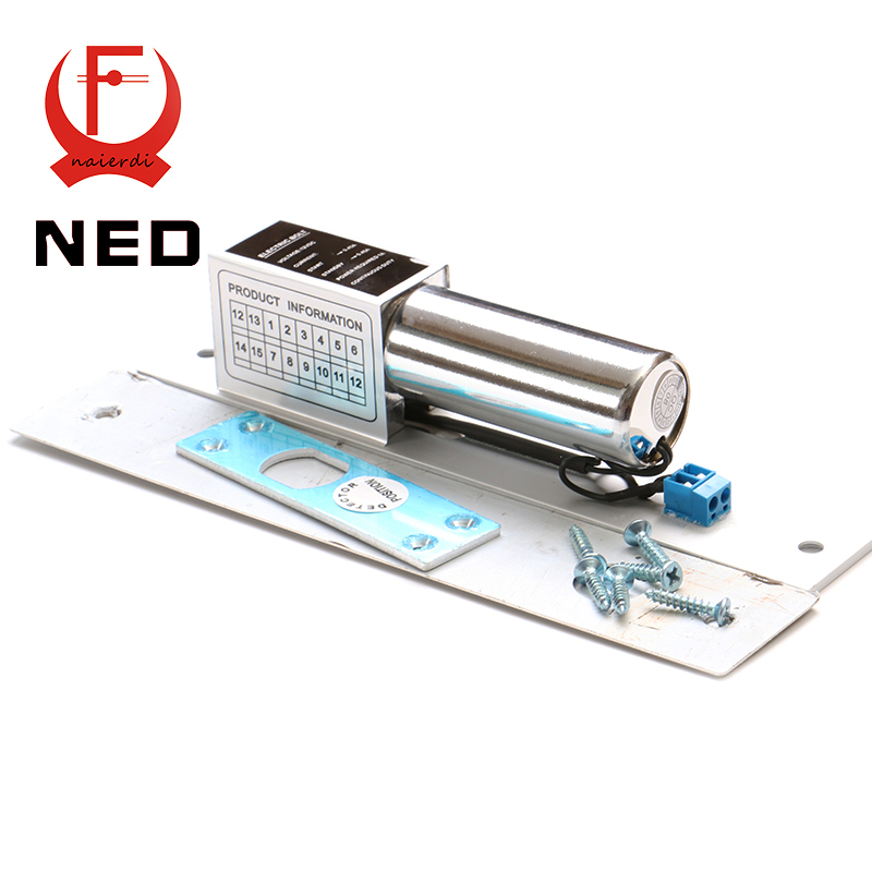 NED DC 12V Electric Drop Bolt Door Lock 2-Lines Magnetic Induction Auto Deadbolt Locks For Security Door Access Control Systems electric drop bolt door lock dc 12v magnetic induction auto deadbolt for security access control system