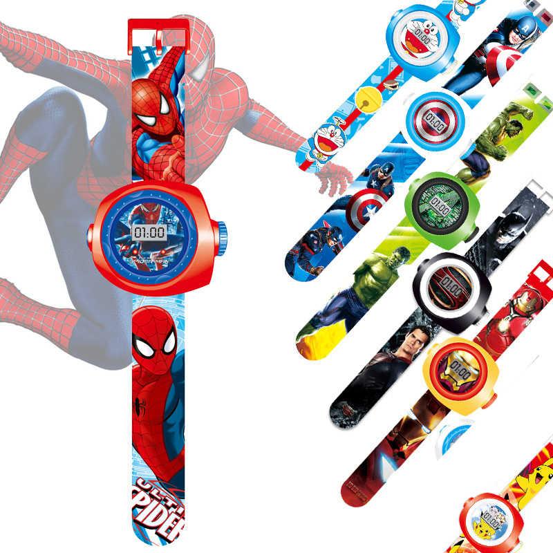 Figuras de acción de los vengadores, proyector Led de dibujos animados de Spiderman, Iron Man, goku, juguetes para niños
