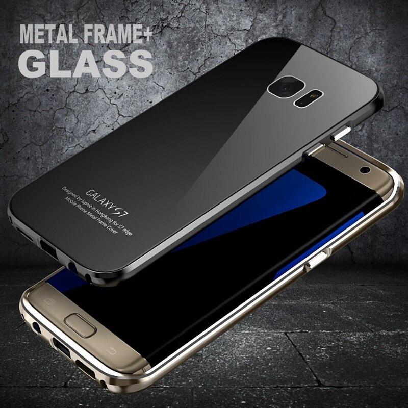 Цена за LUPHIE Бренд Роскошный Металлический Каркас Для Samsung Galaxy S7 край Бампер Алюминиевый Корпус С Ползунком Закаленное Стекло Задняя Крышка sm-G935f