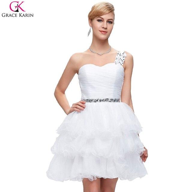 Grace karin short prom kleider weiß tiered one schulter formale ...