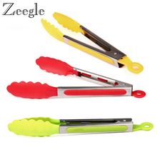 Zeegle 1pcs Kitchen Tongs Cooking Salad Food Serving Silicone BBQ Tongs Stainless Steel Handle Buffet Serving Food Tongs
