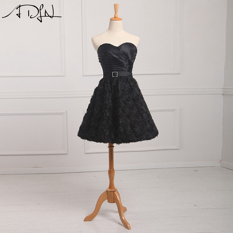 ADLN Chic 3D Flowers Black   Cocktail     Dresses   Short Sweetheart A-line Formal Party   Dress   Formal Prom Gown Customizd
