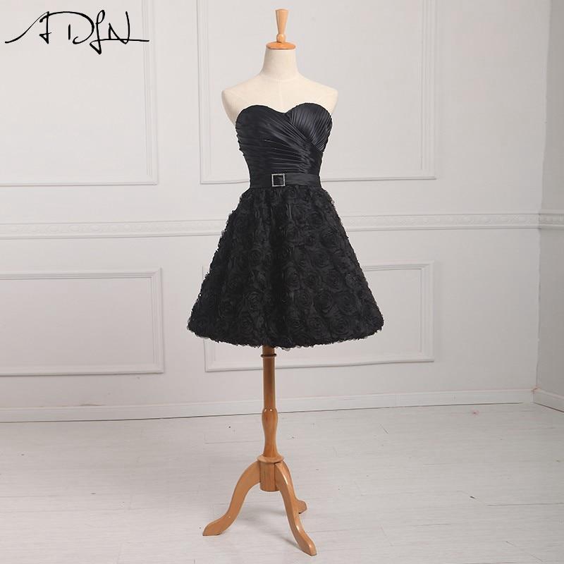 ADLN Chic Little Black Robes 3D Fleur Noir Robes De Soirée Chérie Décolleté A-ligne du Parti Robe Robes de Festa