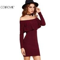Colrovie long sleeve dress womens clothing winter dresses women sexy dresses burgundy off the shoulder ruffle.jpg 200x200