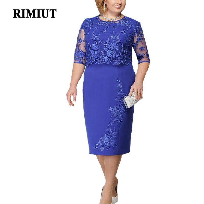 Rimiut 5XL 6XL femmes été automne grande taille robe élégante dentelle robe femme grande taille soirée robes vestido grande taille