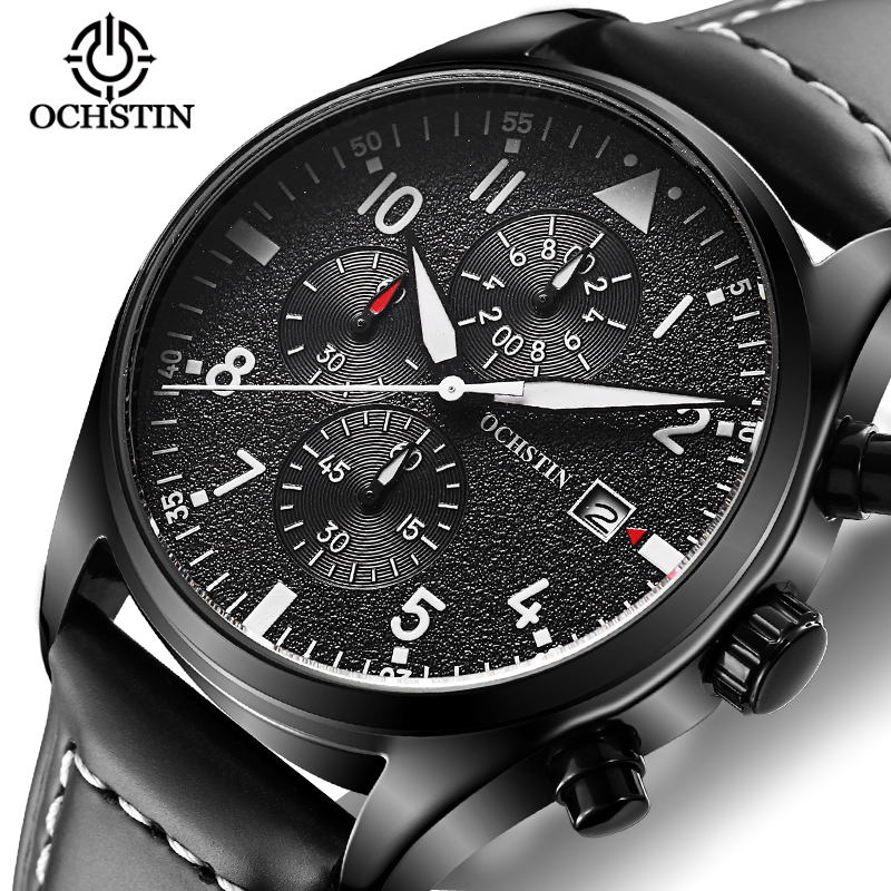 цены Luxury Pilot Mens Watches Chronograph Luminous Automatic Date Genuine Leather Waterproof Sport Quartz Aviator Military Watch