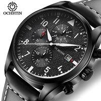 Luxury Pilot Mens Watches Chronograph Luminous Automatic Date Genuine Leather Waterproof Sport Quartz Aviator Military Watch|Quartz Watches|Watches -