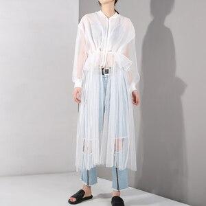 Image 2 - [EAM] 2020 nowa wiosna jesień stanąć kołnierz z długim rękawem biała siatka sznurek duży rozmiar wiatrówka kobiety wykop mody JU1880
