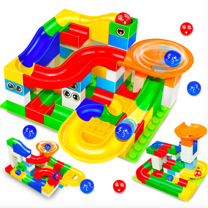 52 Pcs DIY Construction Marble Race Run Maze Balls Track Kids Children Gaming Building Blocks Toys Compatible