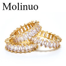 Molinuo Fashion AAA cubic zirconia Baguette ring shinning delicate Gold color thin band for women fashion dainty cz jewelry