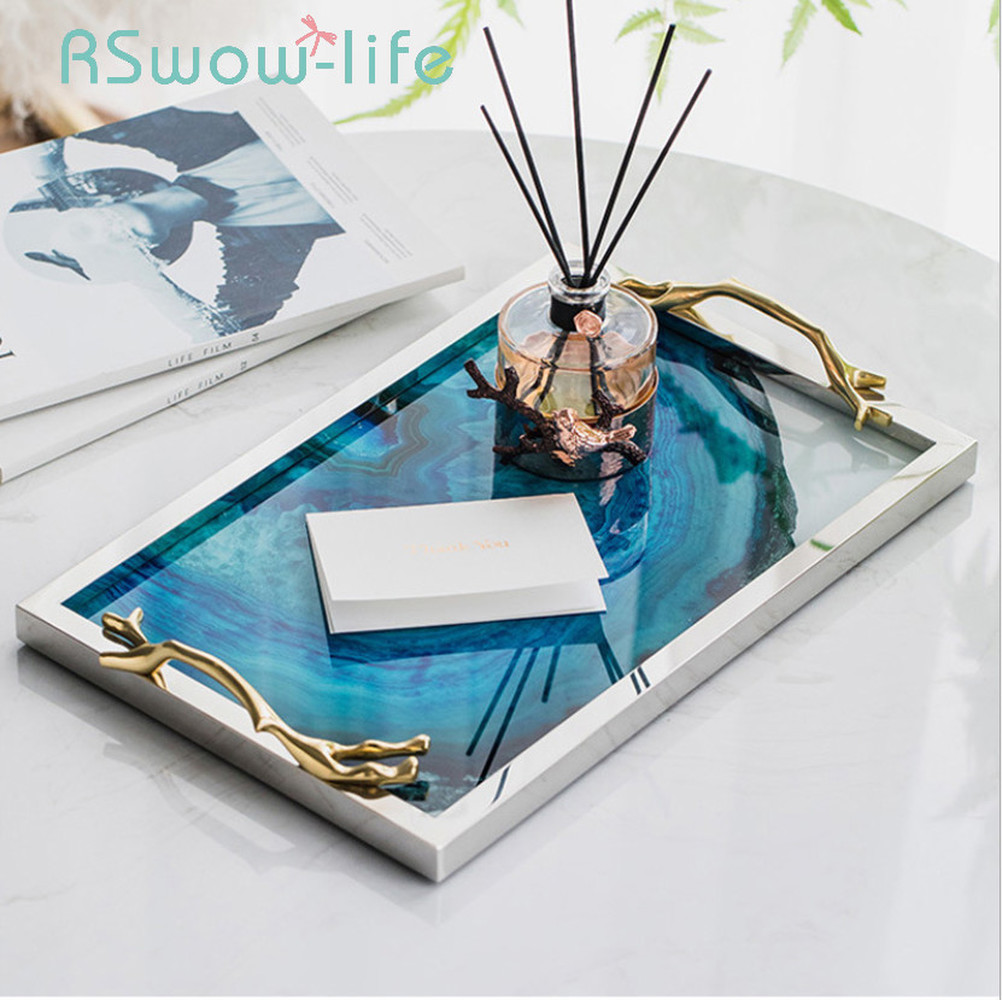Modern Light Luxury Lake Blue Agate Pattern Rectangular Living Room Kitchen Glass Cup Tray Table Storage Tray Serving Platter-in Storage Trays from Home & Garden