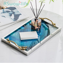 Modern Light Luxury Lake Blue Agate Pattern Rectangular Living Room Kitchen Glass Cup Tray Table Storage Tray Serving Platter