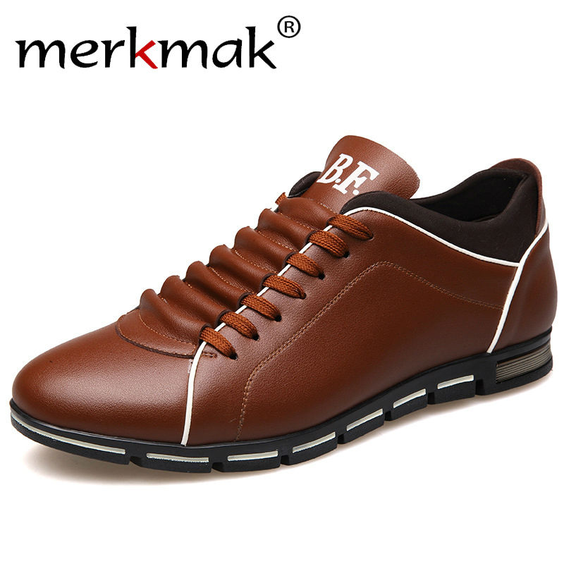 Merkmak New Height Increase Men Shoes British Style Genuine Leather Casual Autumn Fashion Shoes Outdoor Footwear For Men Flats