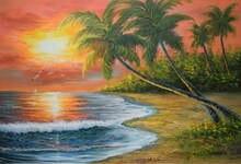 Ручная роспись Современная фотография морской пейзаж картина