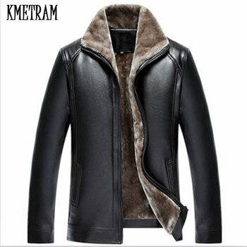 KMETRAM  Autumn and Winter Faux lambskin Lined Leather Jacket Men Clothes Leather Fur Jacket Jaqueta de couro masculino HH371