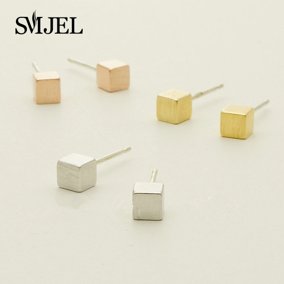 SMJEL Wholesale Tiny Square Stud Earrings For Women Simple Geometric Pendients Mom Birthday Gift Best Friend S082 In From Jewelry