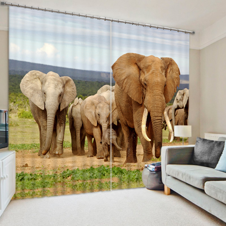 Modern Luxury Shade Fabric 3D  Elephant  Printing Blackout Curtains For Kids Boys Bedding room Living roomHotel Drapes CortinasModern Luxury Shade Fabric 3D  Elephant  Printing Blackout Curtains For Kids Boys Bedding room Living roomHotel Drapes Cortinas