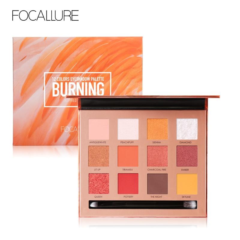 FOCALLURE 12 Cores Shimmer Glitter Eyeshadow Palette de Sombra de Alta Qualidade Lisa Macia