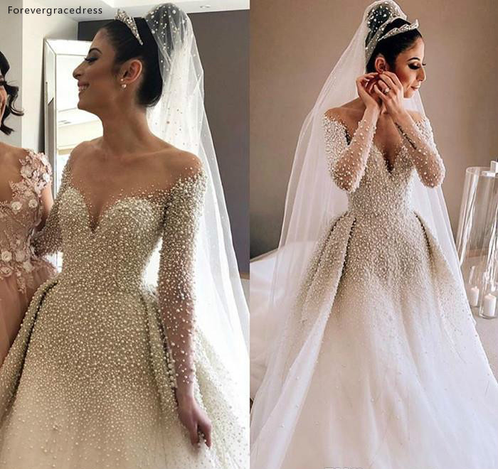 Cheap Sexy Long Sleeves Wedding Dress A Line Pearls Country Garden Church Formal Bridal Gown Custom Made Plus Size