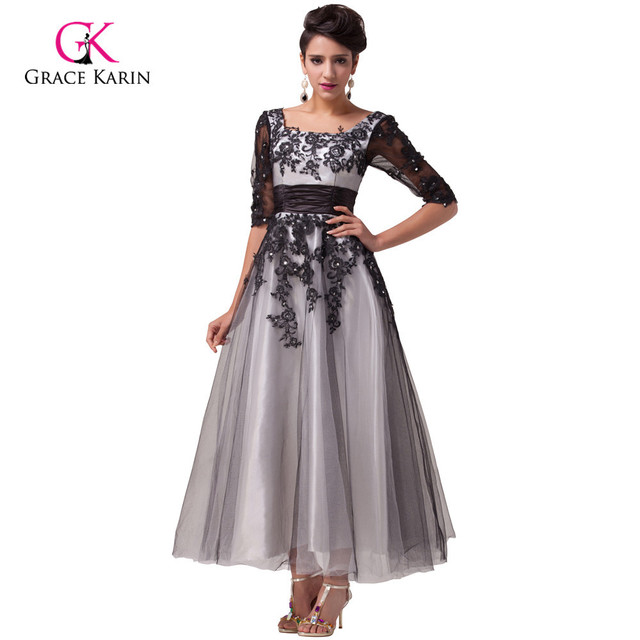 Grace Karin 2017 Black White Lace Long Evening Dresses ...