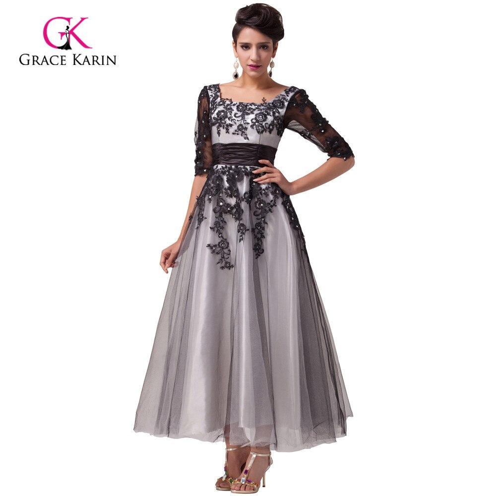 Grace Karin 2018 Black White Lace Long Evening Dresses