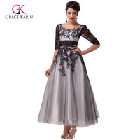 Grace Karin 2018 Black White Lace Long Evening Dresses with Sleeves elegant Women Formal Gowns Mother of the Bride Dresses 6051