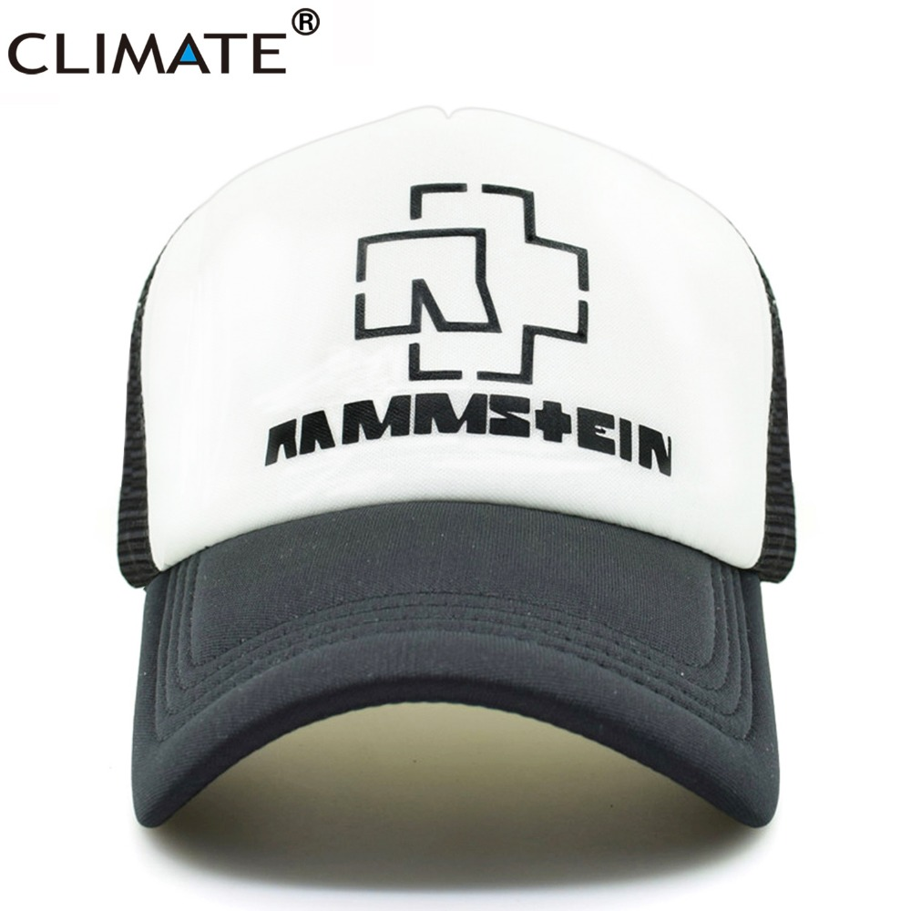 CLIMATE Heavy Metal Rock Rammstein Band Cool Mesh Caps Rammstein Rock Fans Cool Summer Baseball Trucker Mesh Net Cap Hat climate new summer cool black mesh trucker caps guardians of the galaxy groot fans printing meh youth nice mesh cool summer caps