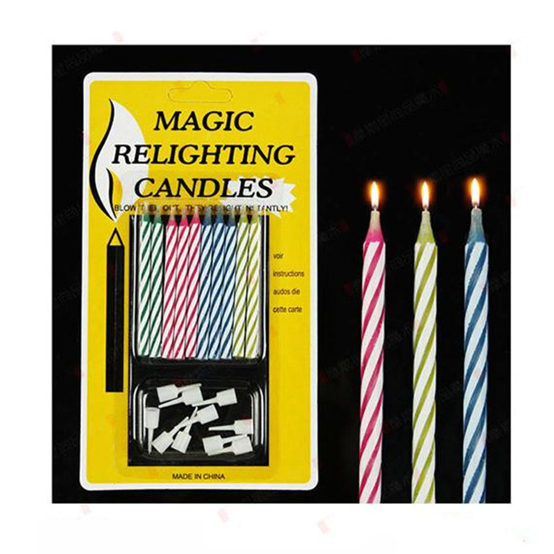 10Pcs/Pack Relighting Candle Jokes Pranks Tricks Toys Birthday Cake Decorations