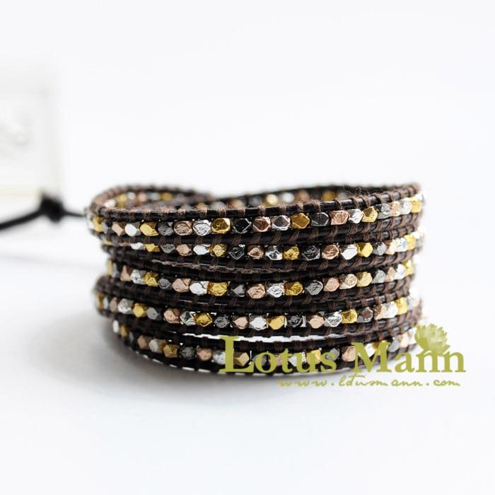 все цены на lotusmann Fashion 4 gold and silver beads mix match wrap wrap bracelet