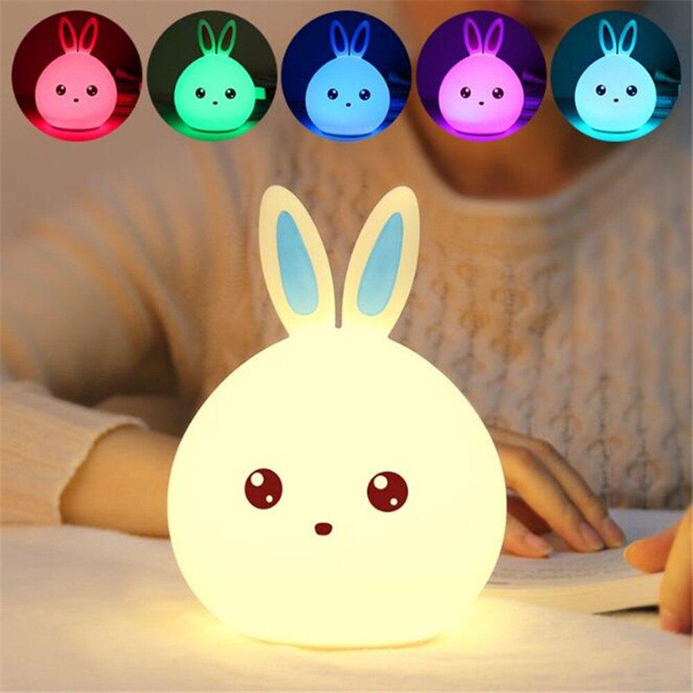 Новый стиль Кролик светодиодный ночник для детей Детские ночники многоцветный силиконовые touch Сенсор коснитесь Управление ночник