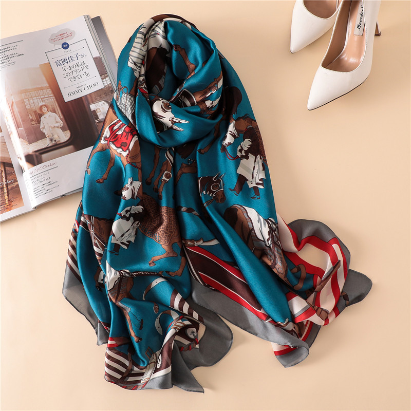 luxury brand 2019 women silk   scarves   fashion print large size   wraps   lady shawl pashmina hijab neck   scarf   foulard