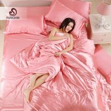 Parkshin Luxury Light Pink Silk Bedding Set Soft Duvet Cover Adult Decor Bed Linen Bedspread Home Textiles Queen King Size