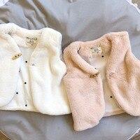 طفل سترة الشتاء لون الصوف الصلبة الوردي الأبيض أكمام فتاة سترة في طفلة الملابس colete casaco menina