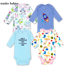3pcs/lot 100%Cotton Baby Romper Body suit Newborn Long Sleeve Underwear Infant Boys Girls Pajamas Clothes 12M