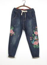 2017 New Winter Female Line Patch National Wind Retro Flower Embroidery Thickened Waist Elastic Straight Ladies Denim Trousers