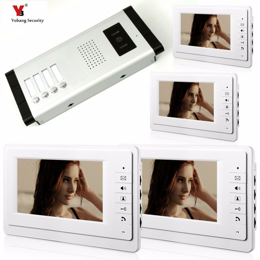 Yobang Security 4 Units Apartment Video Intercom 7 Inch Wired Video Door Phone Visual Intercom Doorbell with 4 Monitor+1 Camera yobang security 9 inch lcd home security video record door phone intercom system doorbell video monitor for apartment villa