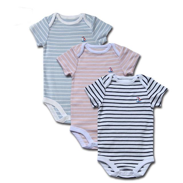 Bebê Pendurado 100% Algodão Azul de Manga Curta Tarja Preta Corpo New Born Bodysuits Infantil Menino/Menina Roupas de Bebê Bodysuit